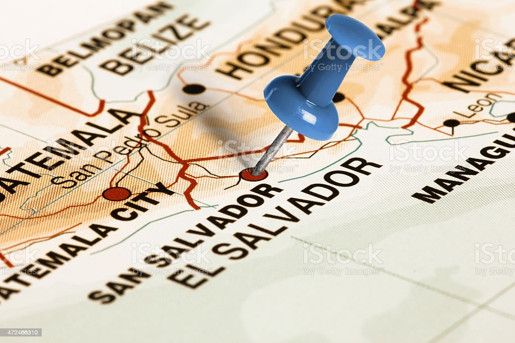 Location San Salvador. Blue pin on the map. stock photo