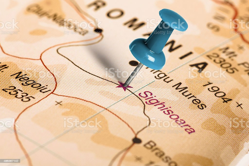 Location Sighisoara. Blue pin on the map. stock photo