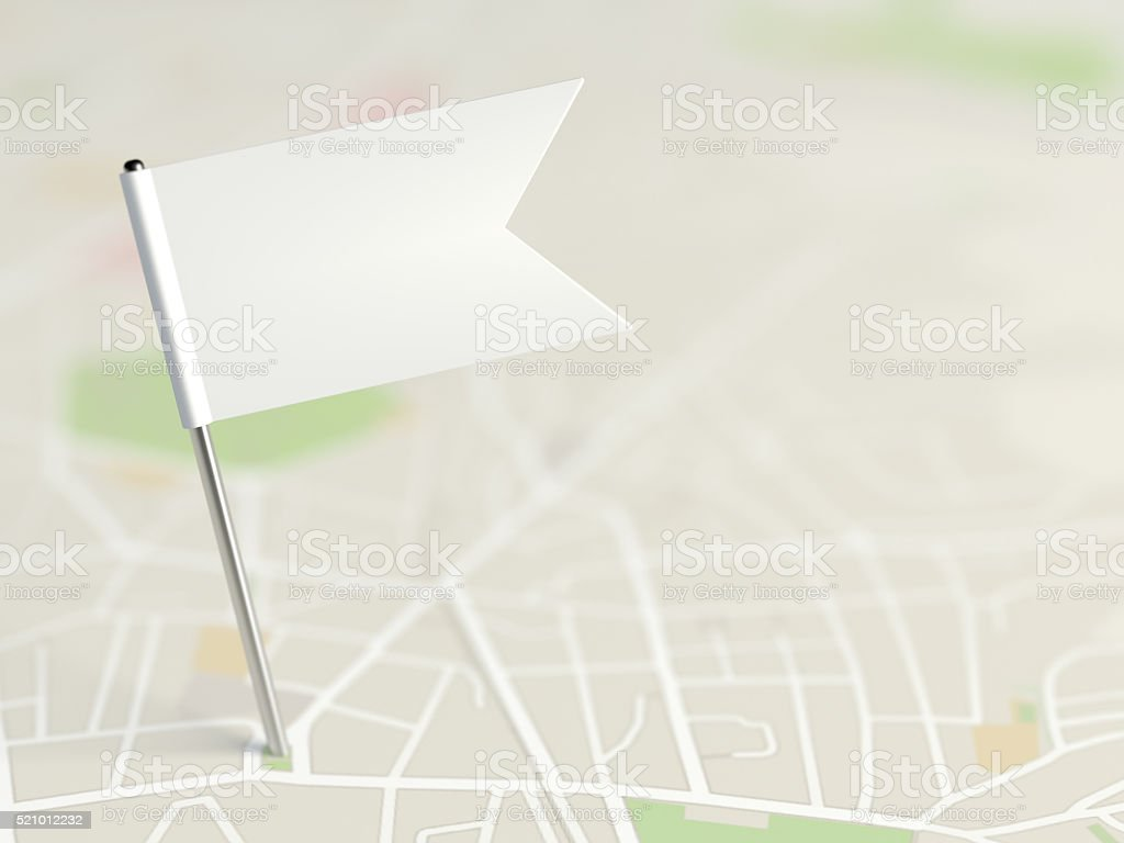 Locator flag on a city map stock photo