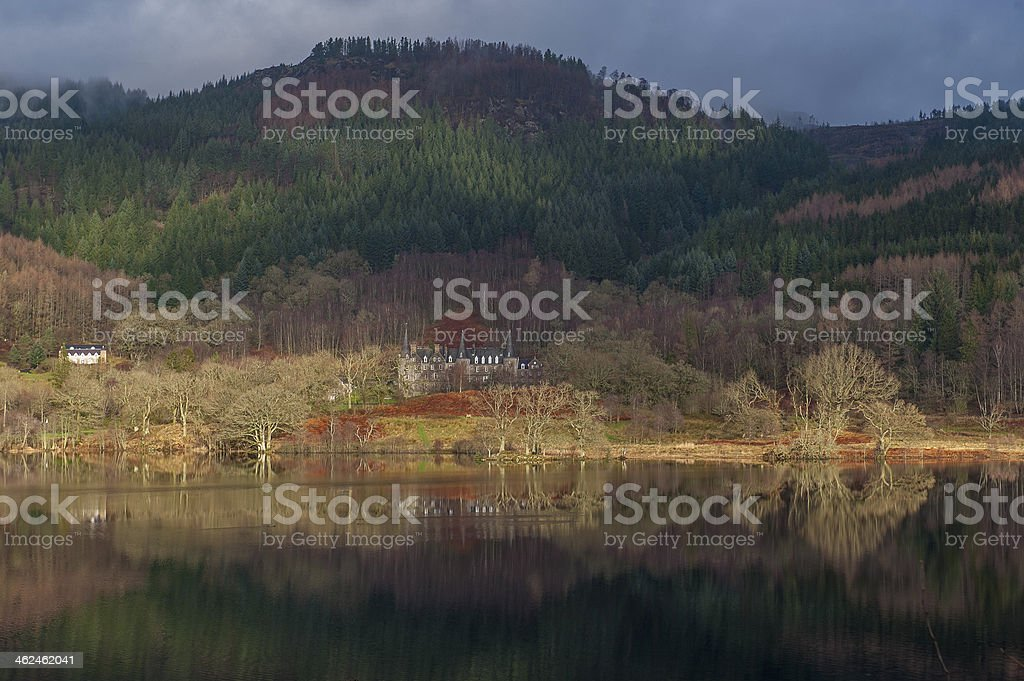 Loch Achray in winter sun royalty-free stock photo