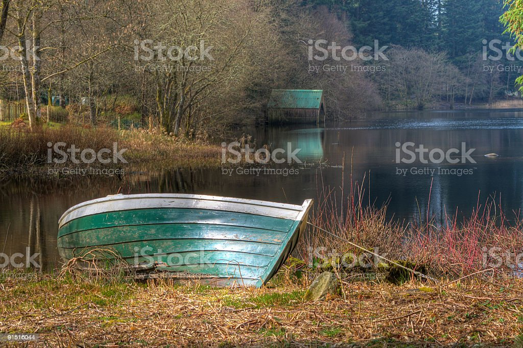 Loch Ard Boat and Boathouse stock photo