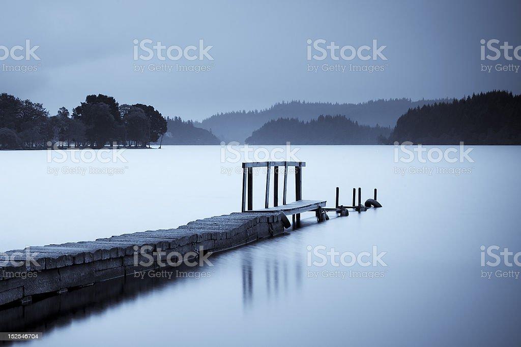 Loch Ard Pier at dawn stock photo