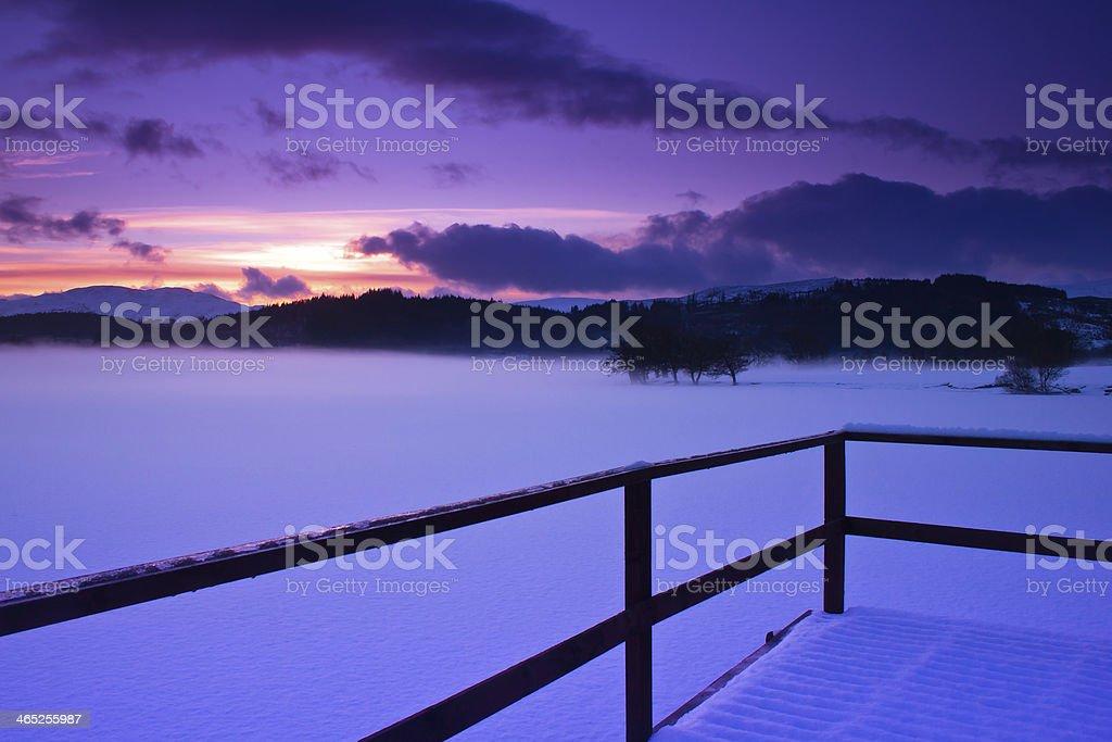 Loch Ard, Scotland, In Snow. stock photo