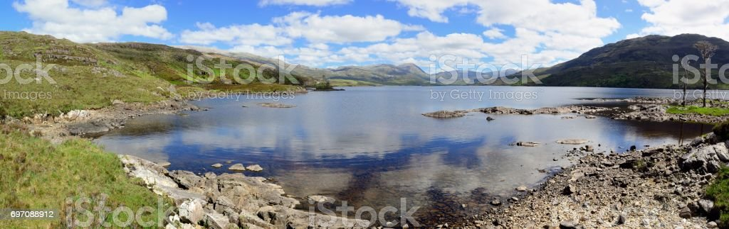 Loch Assynt panorama stock photo