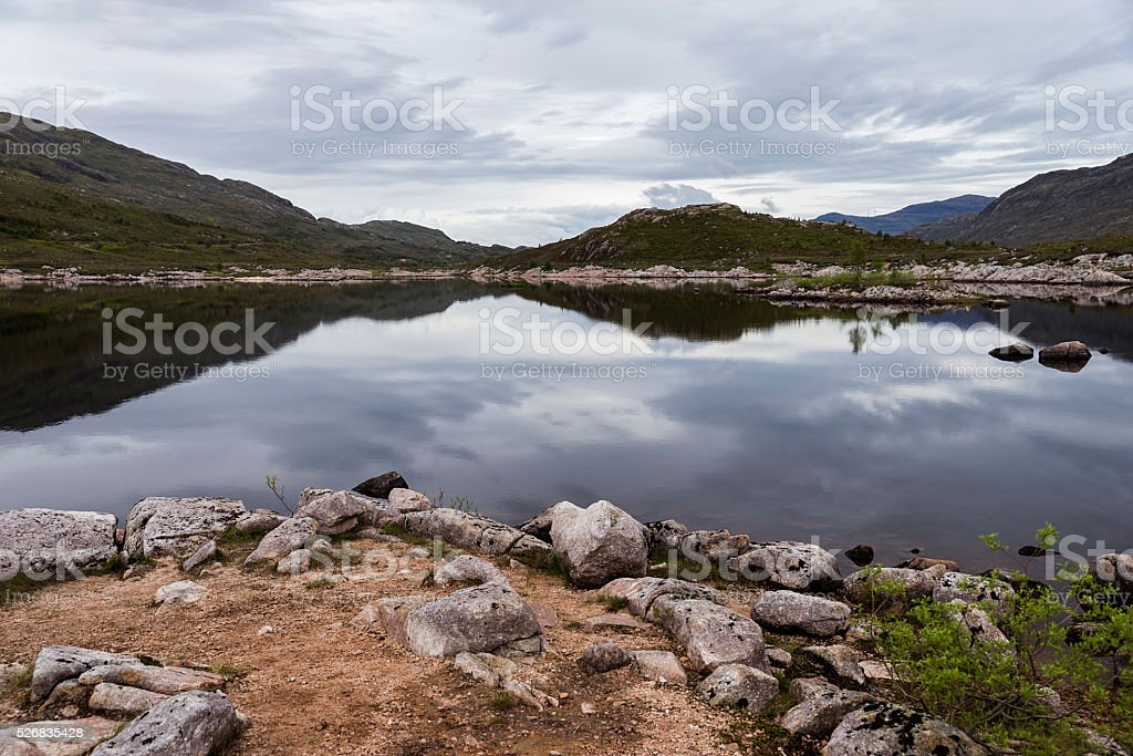 Loch Cluanie, Scotland lake and mountain landscape stock photo