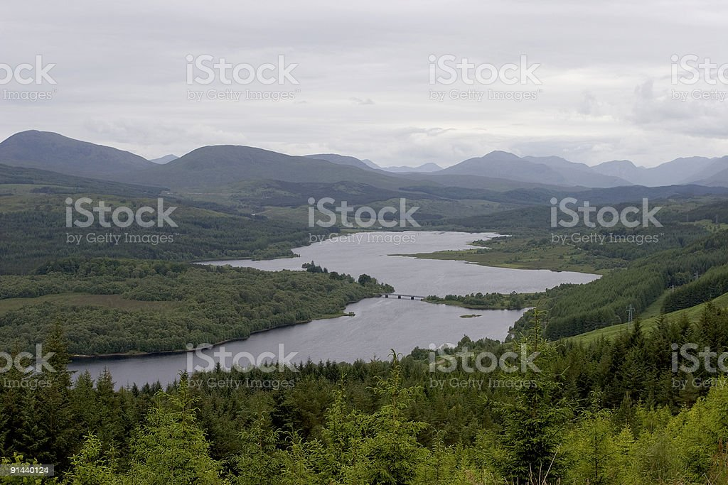 Loch Garry - Scotland map perspective stock photo