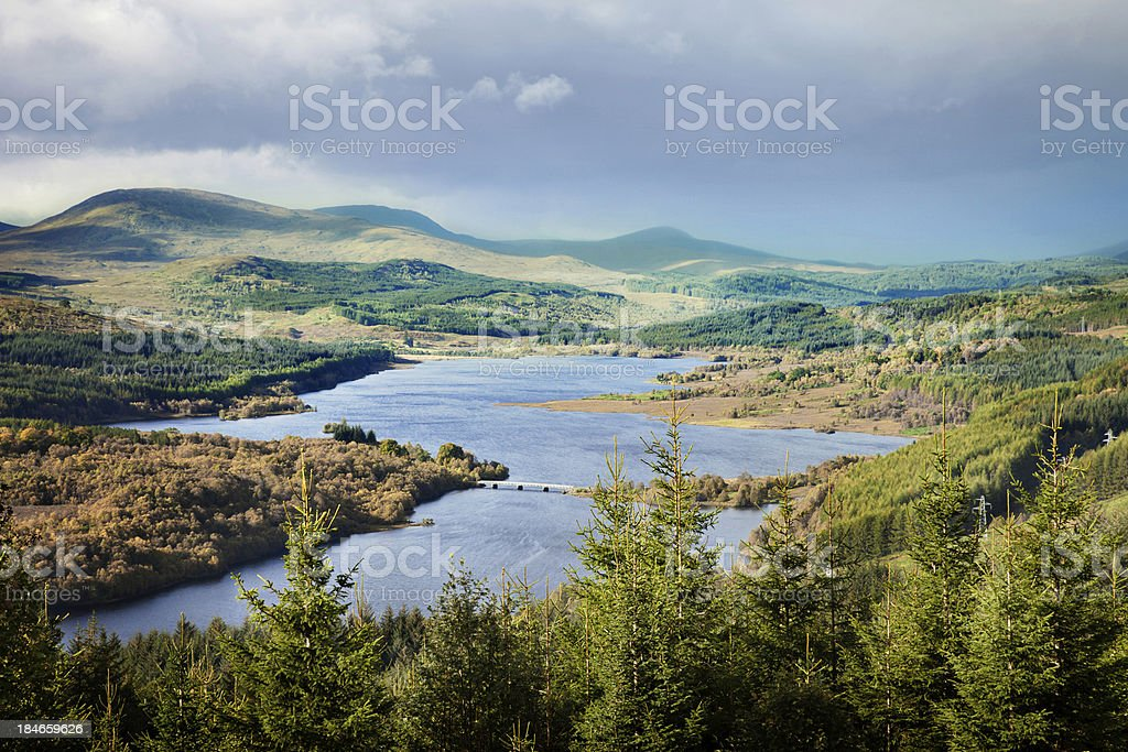 Loch Garry under a dramatic sky stock photo