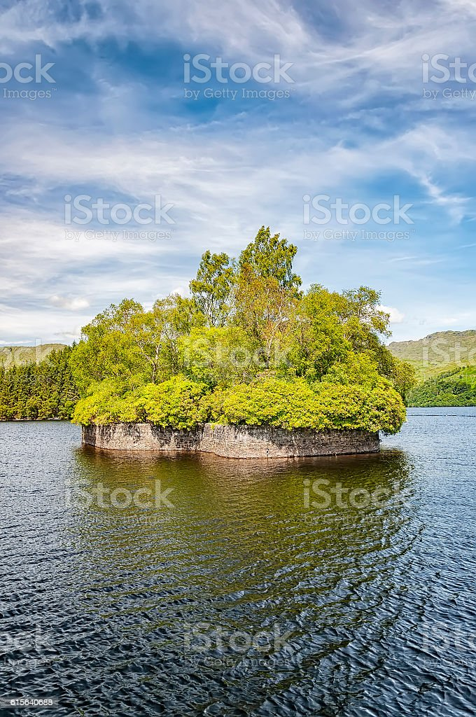 Loch Katrine Factors Isle stock photo