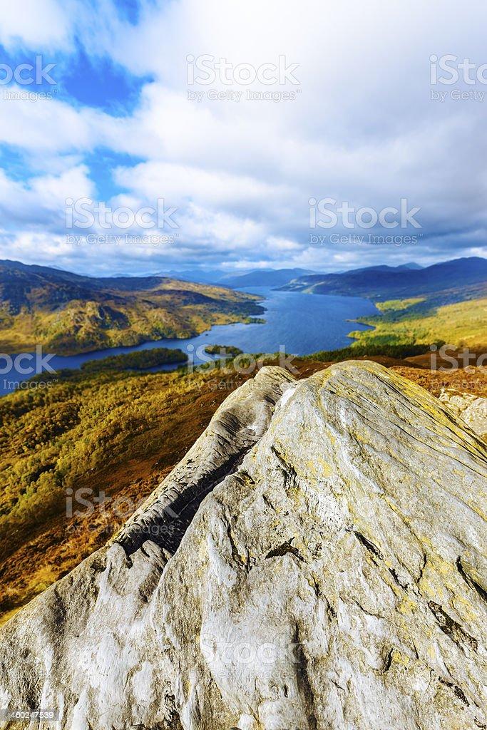 Loch Katrine from Ben A'an, Scotland stock photo