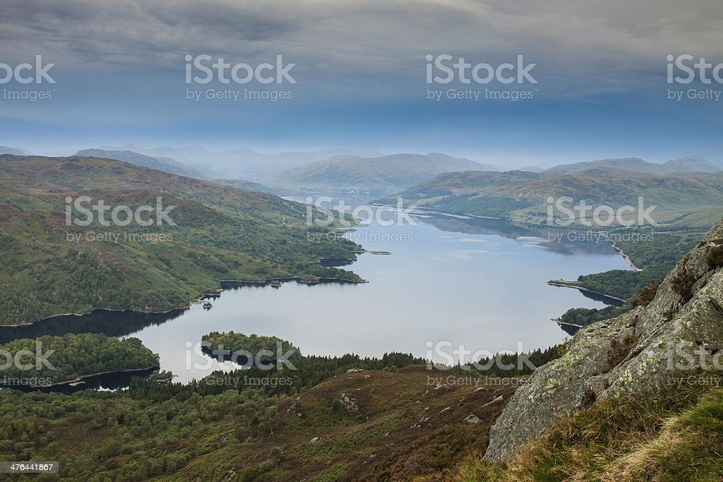 Loch Katrine from the slopes of Ben A'an. stock photo