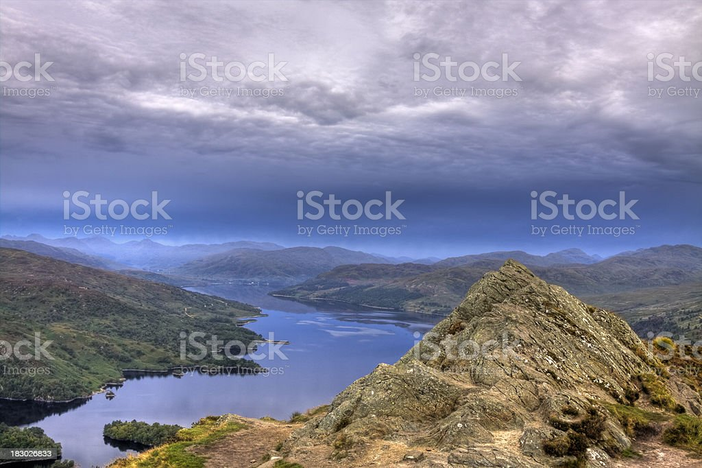 Loch Katrine from the summit of Ben Aan at dawn. stock photo