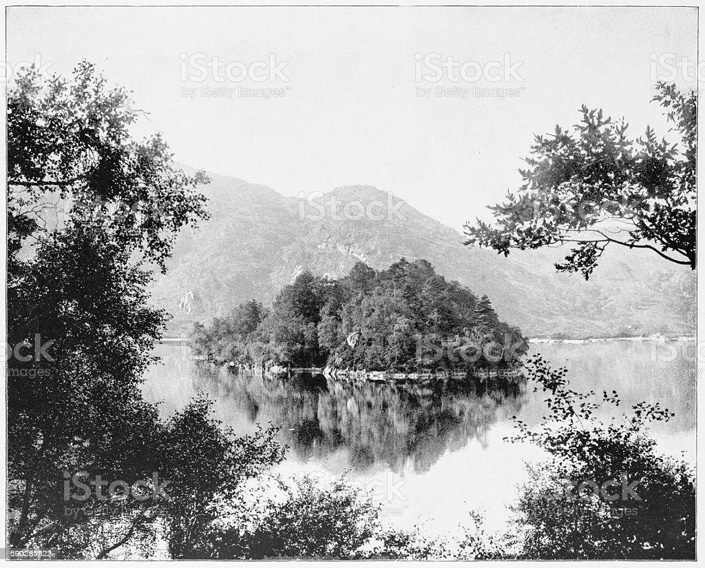Loch Katrine, Scotland in 1880s stock photo