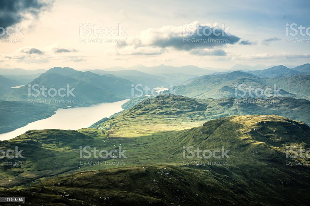 Loch Lomond from the Mountains stock photo