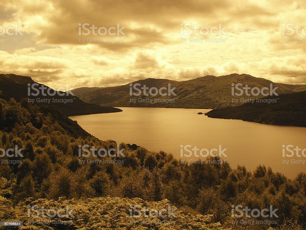 Loch Lomond in Sepia royalty-free stock photo