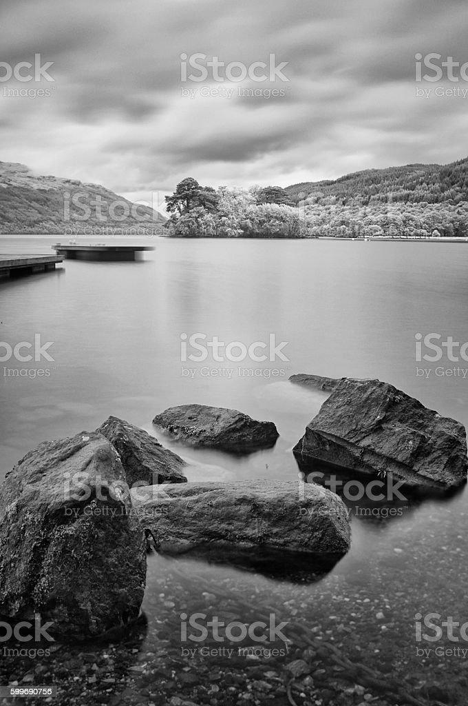 Loch Lomond Scenic In Black And White stock photo