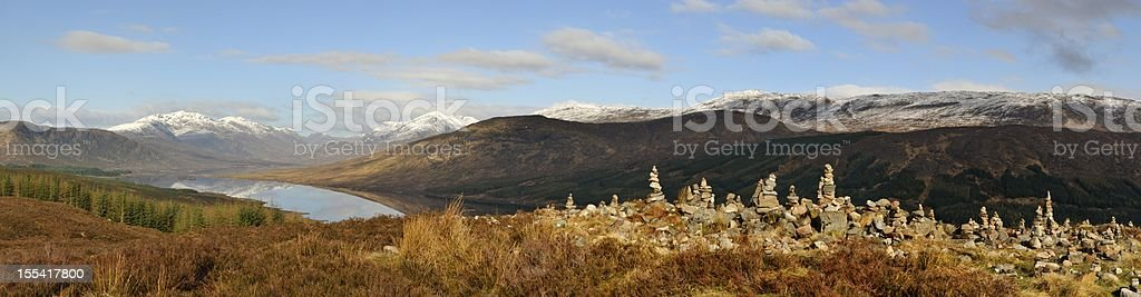 Loch Loyne Stone Stacks stock photo
