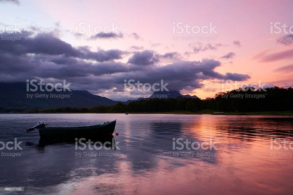 Loch Maree Dawn Scenic stock photo