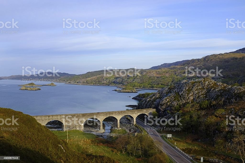 Loch Nan Uamh Viaduct surrounded by mountains stock photo