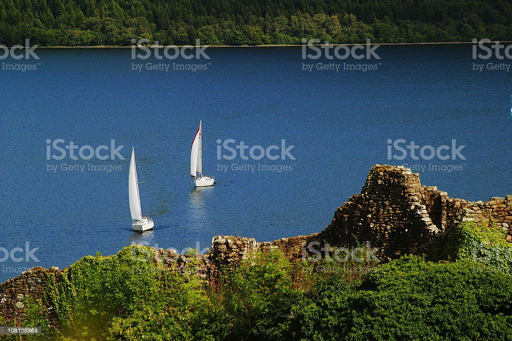 Loch Ness Region in Scotland with Boats on Lake stock photo