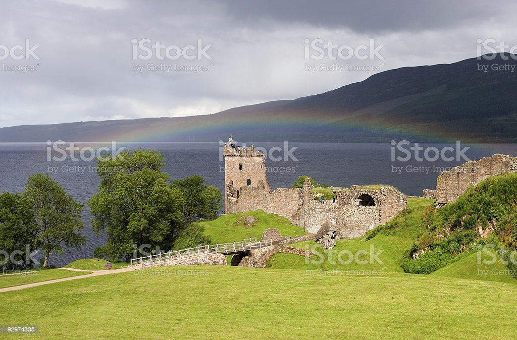 Loch Ness - Urquhart castle with rainbow royalty-free stock photo