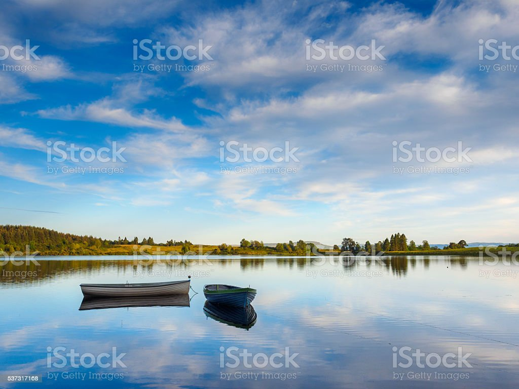 Loch Rusky in the Trossachs, Scotland. stock photo