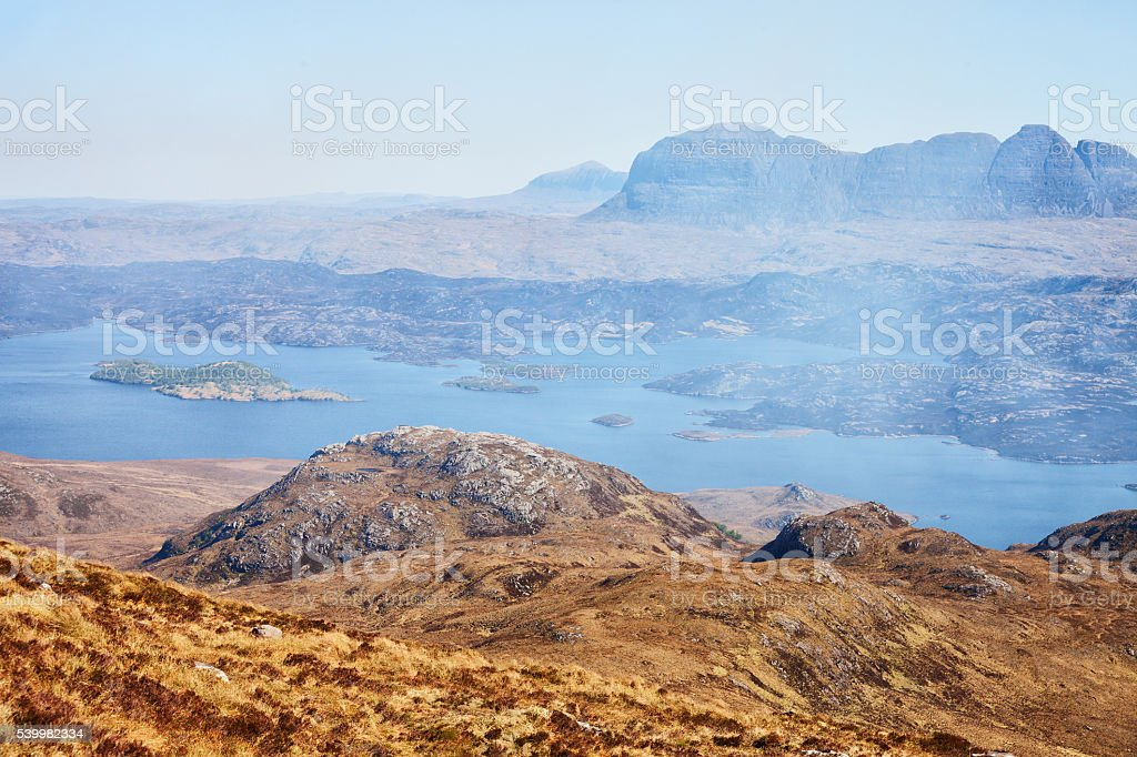 Loch Sionascaig and Suilven in spring. stock photo