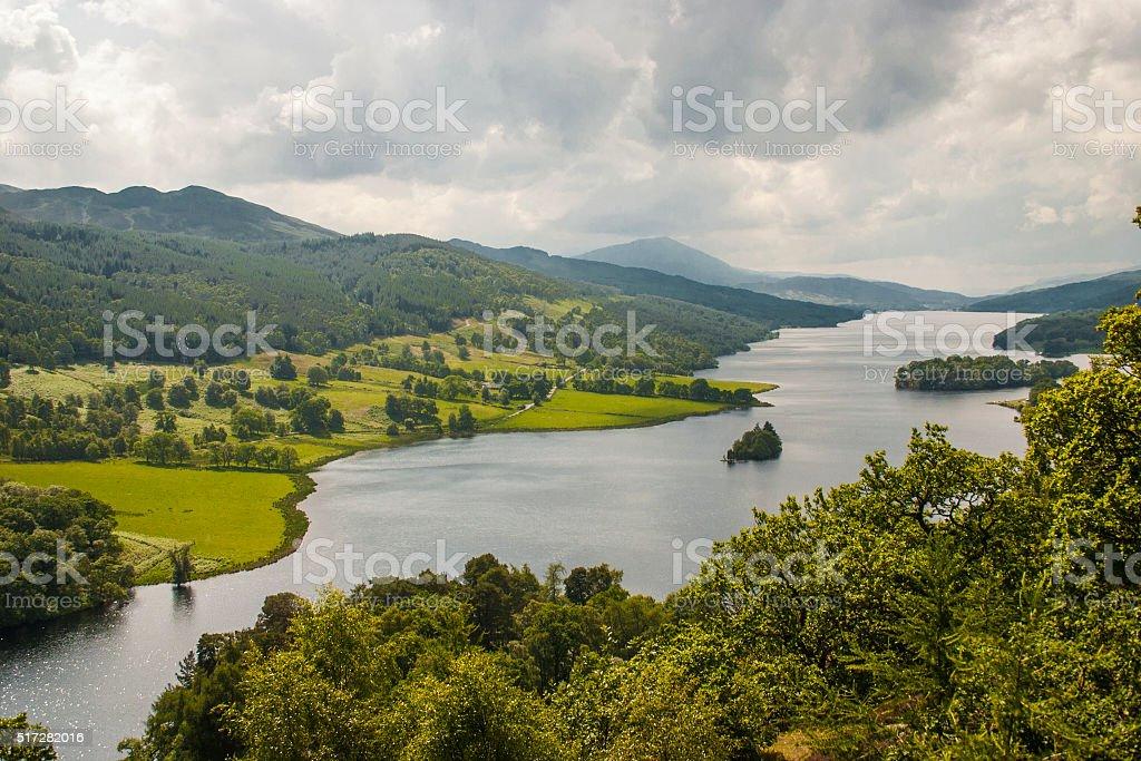 Loch Tummel from Queen's View, Scotland. stock photo