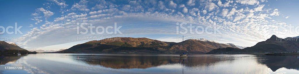 Loch yacht mountain vista royalty-free stock photo