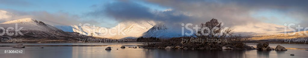 Lochan Na h-Aichlaise Ultra Wide Panorama. stock photo
