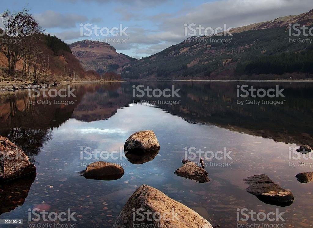 Lochside (Loch Lubnaig, Strathyre, Scotland) royalty-free stock photo
