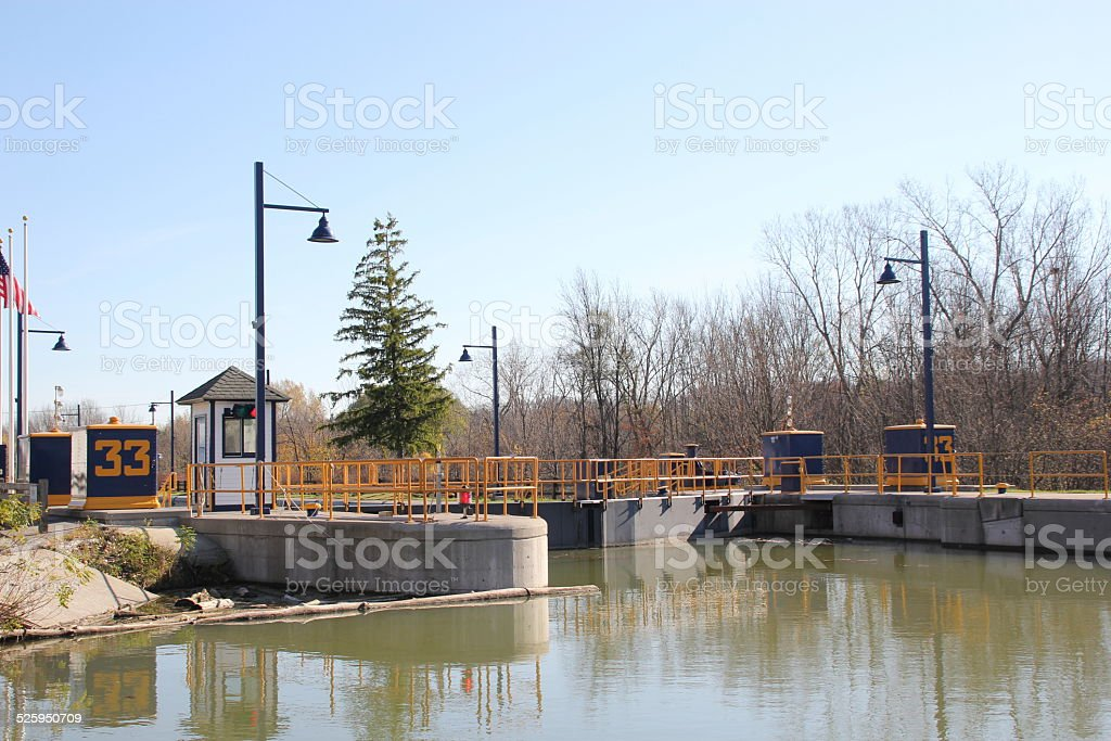 Lock 33 on the Erie Canal in Rochester NY, USA stock photo