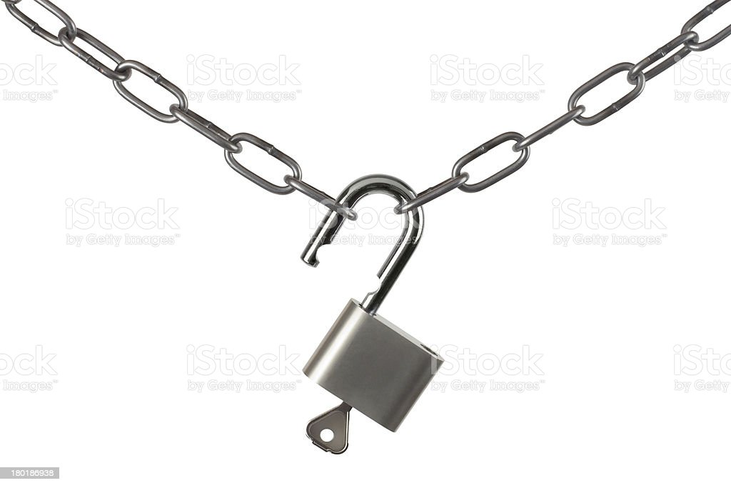 Lock and chain isolated on white background royalty-free stock photo