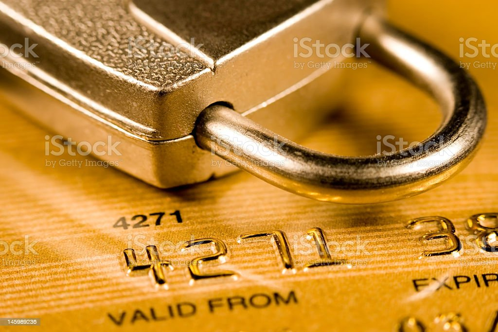 Lock and credit card representing security royalty-free stock photo