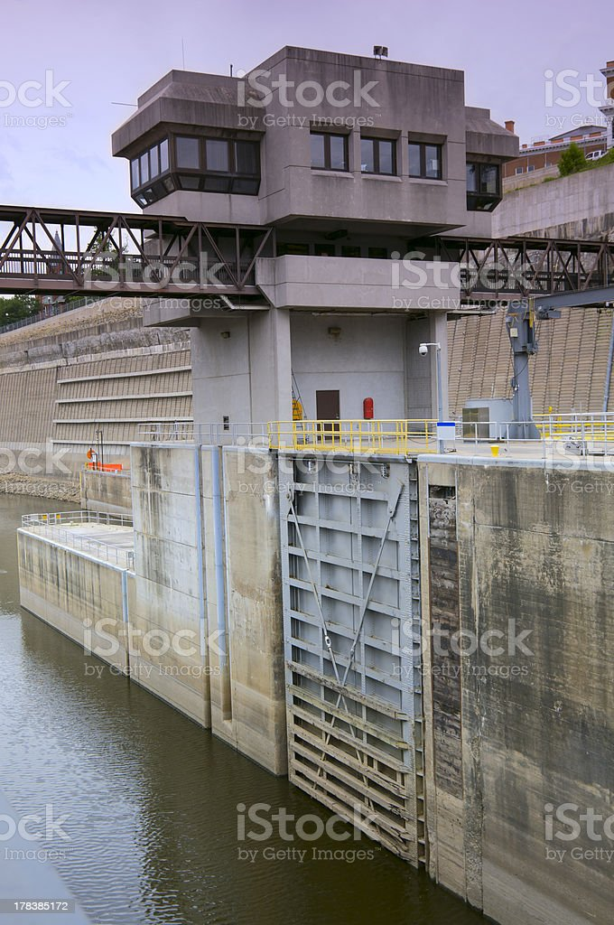 Lock and Dam Control Tower Above Gate royalty-free stock photo