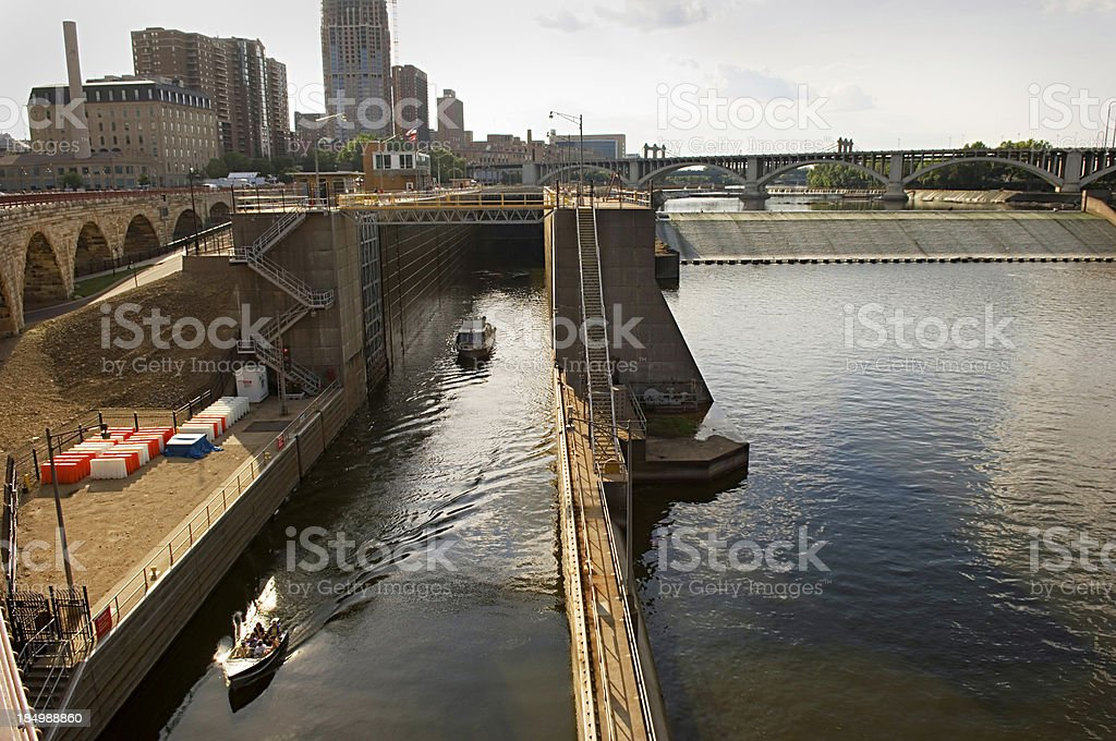 Lock and Dam, Mississippi River, Minneapolis royalty-free stock photo
