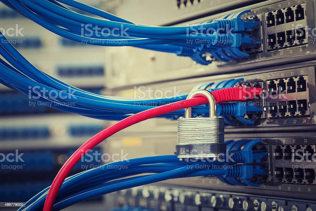 lock and network cables connected stock photo