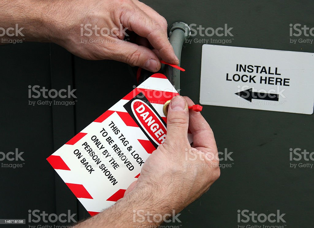 lock and tag out stock photo