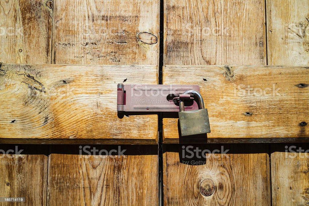 Lock and Wooden Doors stock photo
