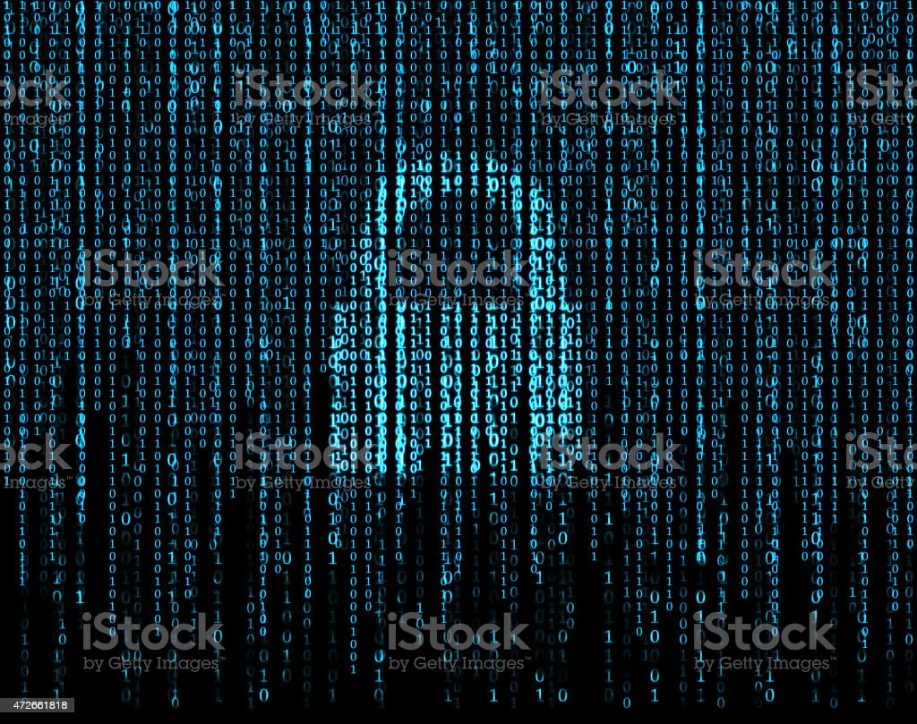 Lock behind blue and black binary code stock photo