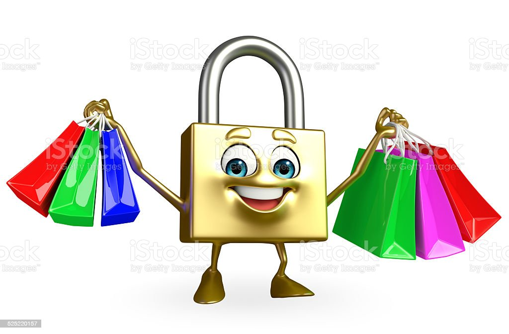 Lock Character With Shopping Bag stock photo 525220157 | iStock