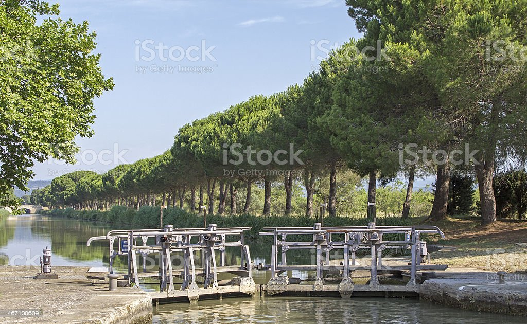 Lock, from Canal du Midi. France. stock photo