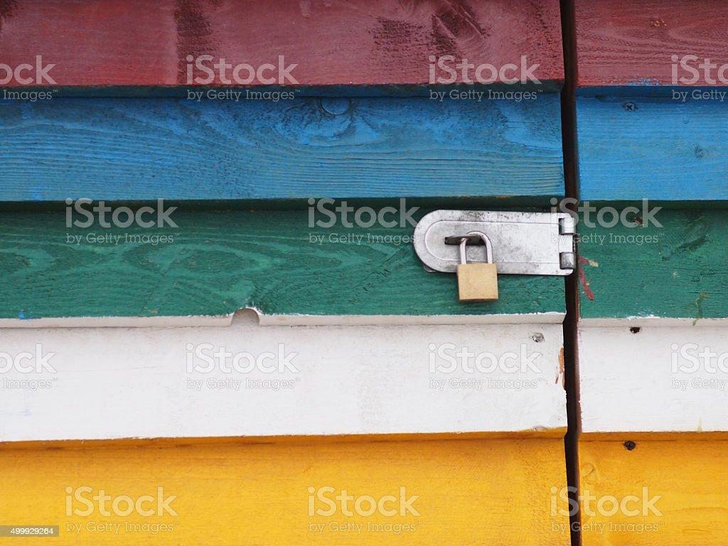 Lock on colorful door stock photo
