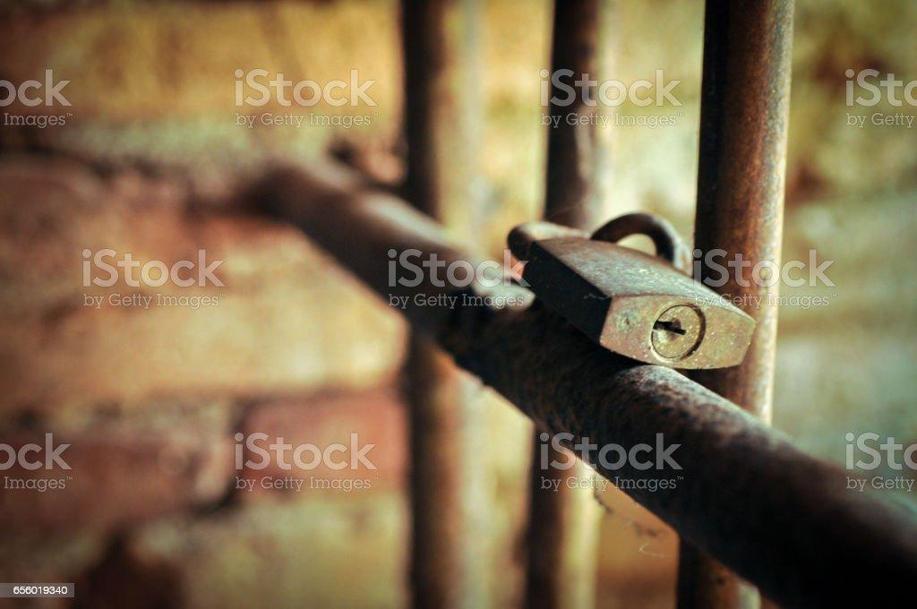 Lock On Jail Bars stock photo
