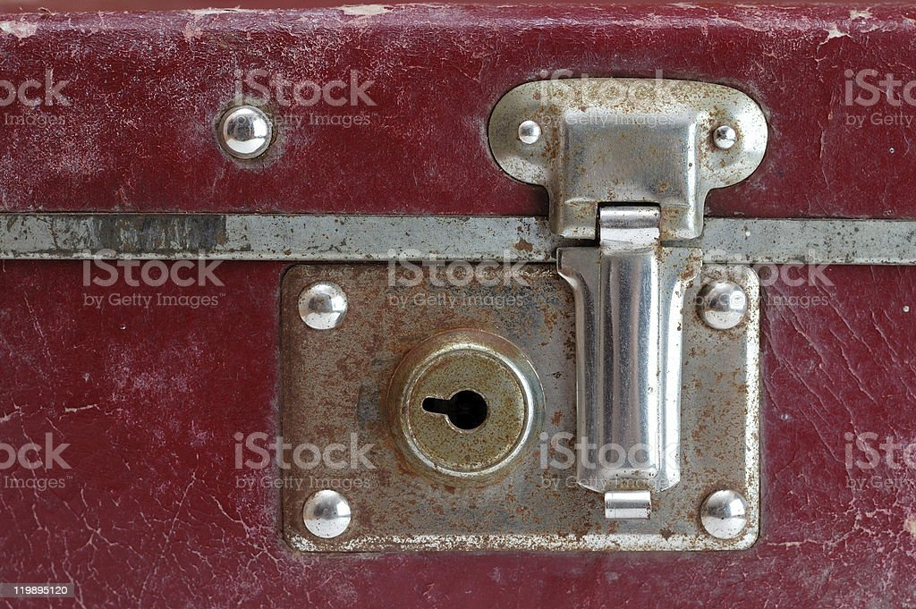 Lock on old suitcase royalty-free stock photo
