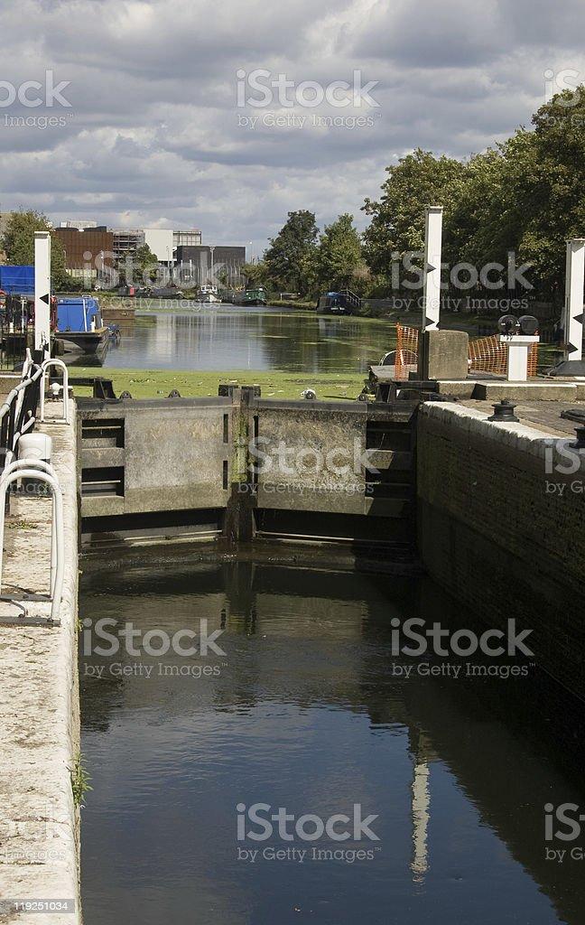 Lock on River Lea, East London royalty-free stock photo