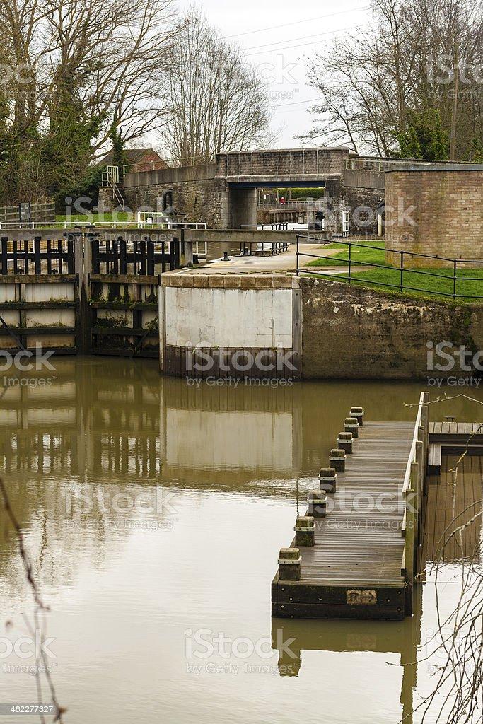 Lock on River Medway at Yalding, Kent UK stock photo
