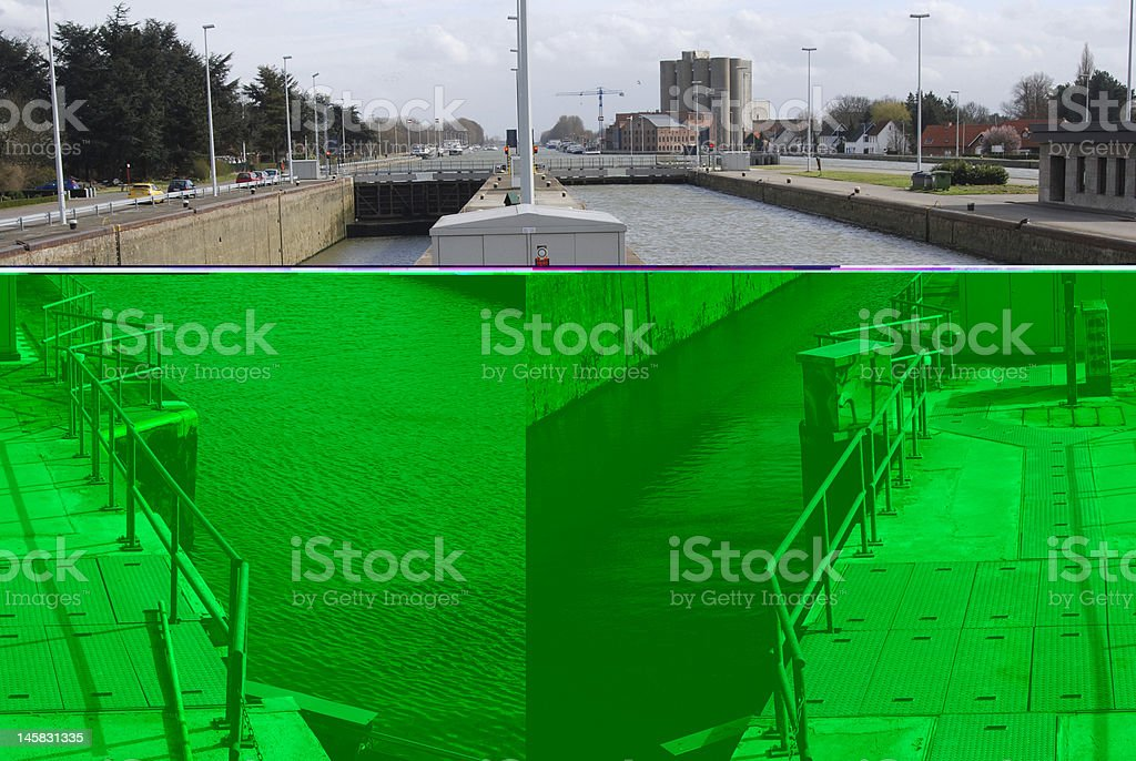 Lock on the Albert canal royalty-free stock photo