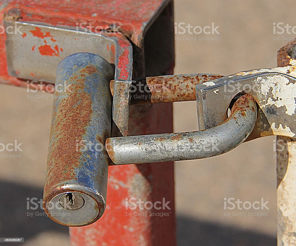 Lock on the metal gate royalty-free stock photo