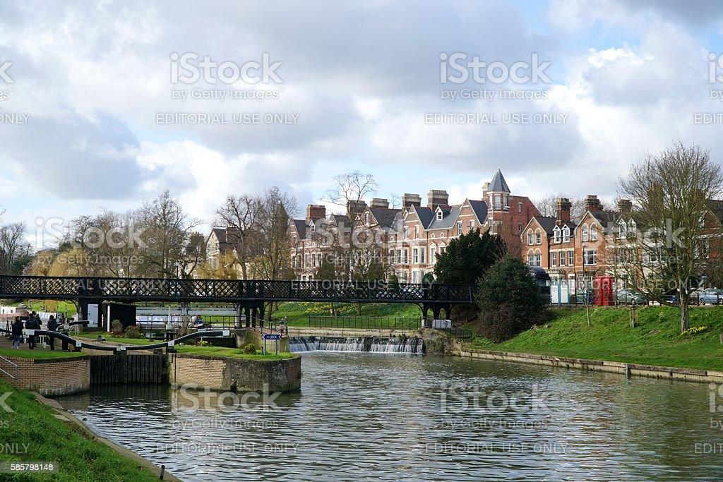Lock On The River Cam, Cambridge, England stock photo