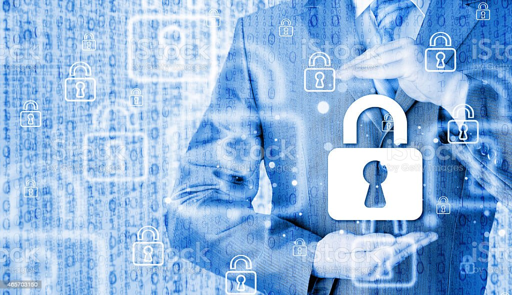 lock security businessman protect concept stock photo